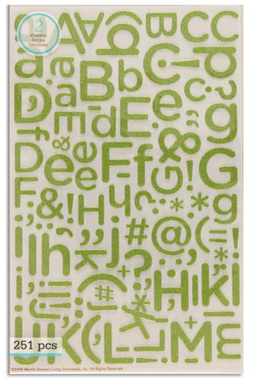 Martha Stewart Crafts Stickers Glitter Alphabet Peridot