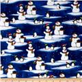 North Pole Greetings Flannel Snowmen And Penguins Royal Blue