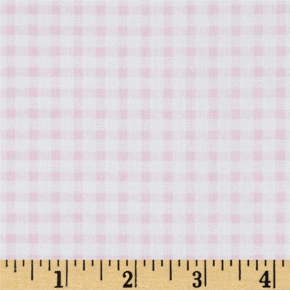 Telio Morocco Blues Stretch Cotton Shirting Gingham Print Baby/Pink/White