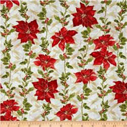 Ribbons & Holly Poinsettia Metallic Cream