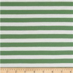 Yarn Dyed Jersey Knit Stripe Green/White