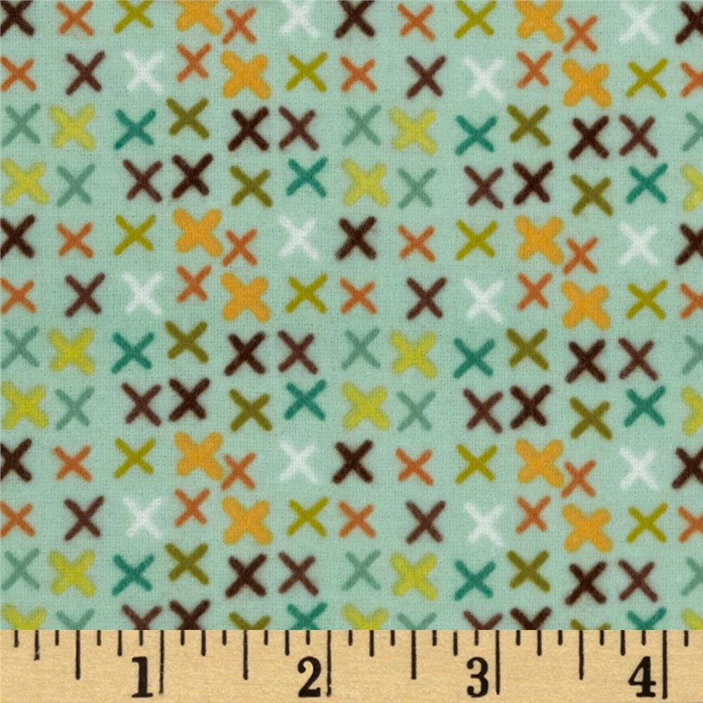 Riley Blake Giraffe Crossing Flannel Giraffe Tic Tac Teal