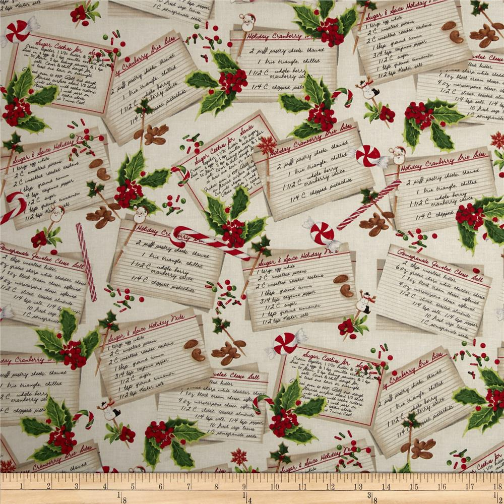 Kaufman Holly Jolly Christmas Recipe Cards Ivory