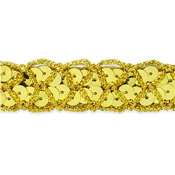 "3/4"" Christina Braided Sequin Trim Roll Gold"