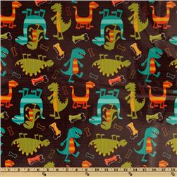 Michael Miller Shiny Laminated Cotton Dino Brown