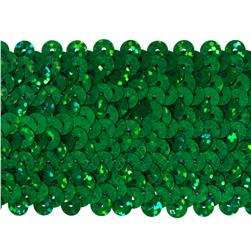 "1 3/4"" Hologram Stretch Sequin Trim Green"