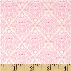 Riley Blake Teddy Bear's Picnic Teddy Damask Pink