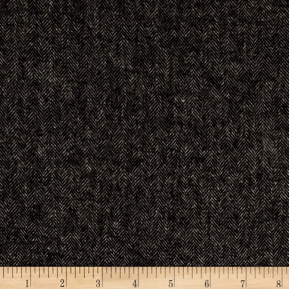 Primo flannel smoky herringbone black discount designer for Black fabric
