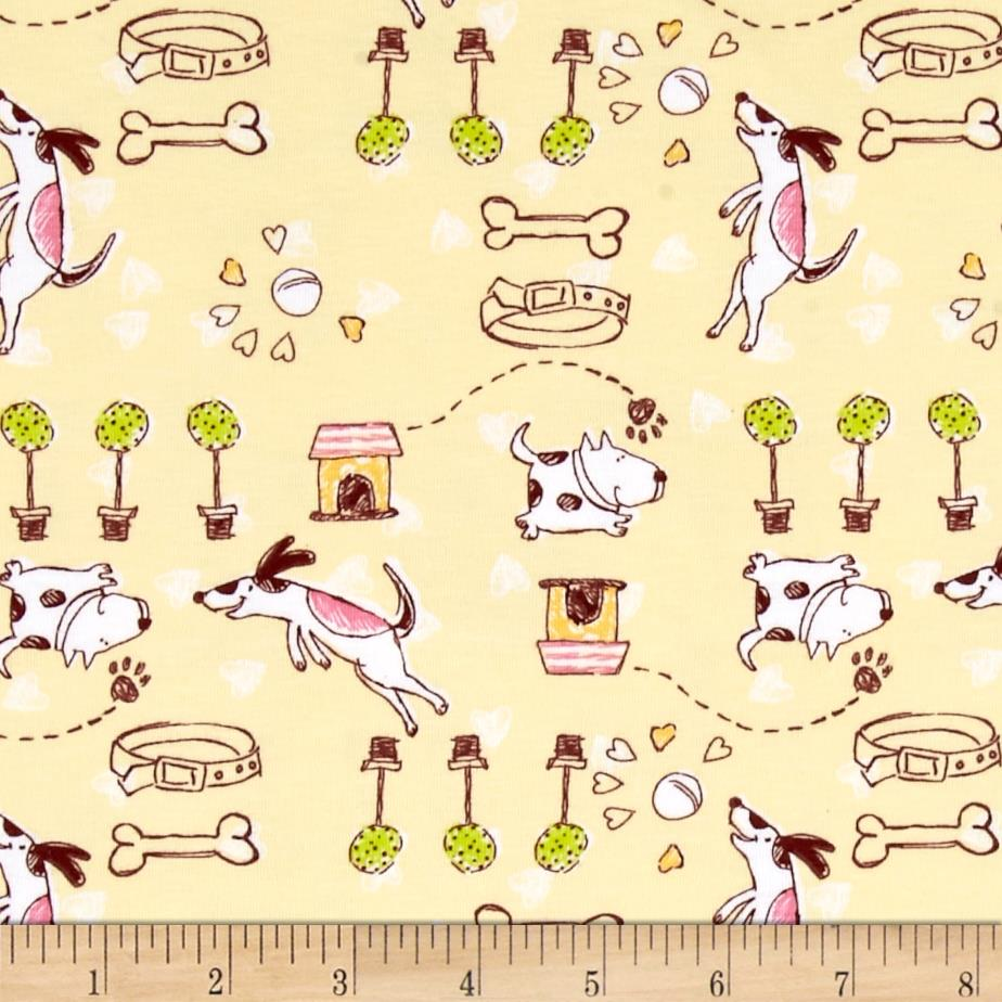 Children 39 s jersey knit dog bone yellow discount for Childrens fabric