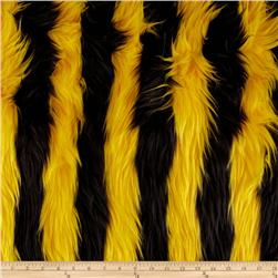Fun Shag Faux Fur Ribbon Stripes Yellow/Black