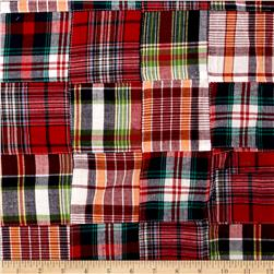 Madras Patchwork Plaid Red Navy