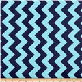 Riley Blake Laminate Medium Chevron Tone on Tone Navy/Light Blue