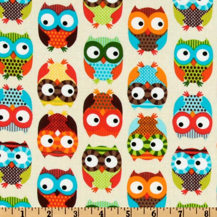 Timeless Treasures Owl Cream