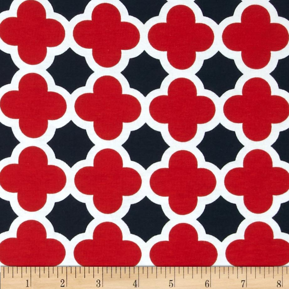 Riley Blake Stretch Cotton Jersey Knit Quatrefoil Red/Navy