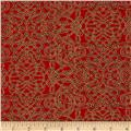 Robert Kaufman Holiday Flourish Metallic Squiggle Crimson