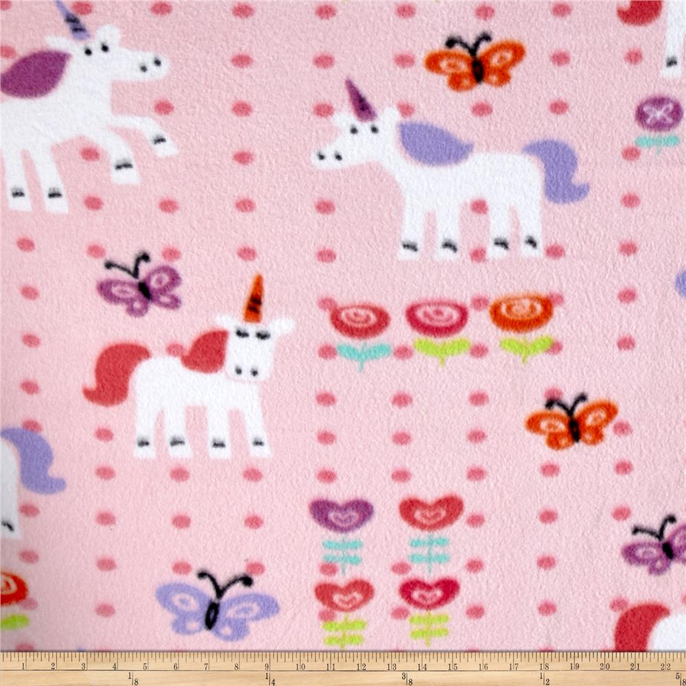 Fleece Print Unicorns and Flowers Pink Fabric By The Yard