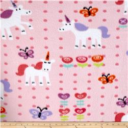 Fleece Print Unicorns and Flowers Pink