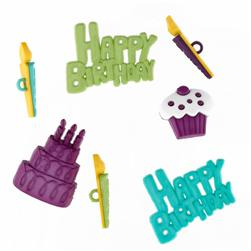 Favorite Findings Sew-on Buttons & Flatbacks Happy Birthday
