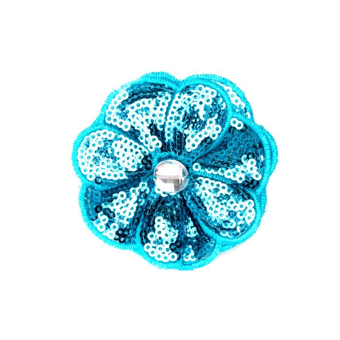 Jeweled Posey Sequin Brooch 2-1/2'' Turquoise