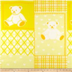 Fleece Print Teddy Bear Yellow/White