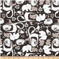 Flannel Zoo Animals Grey