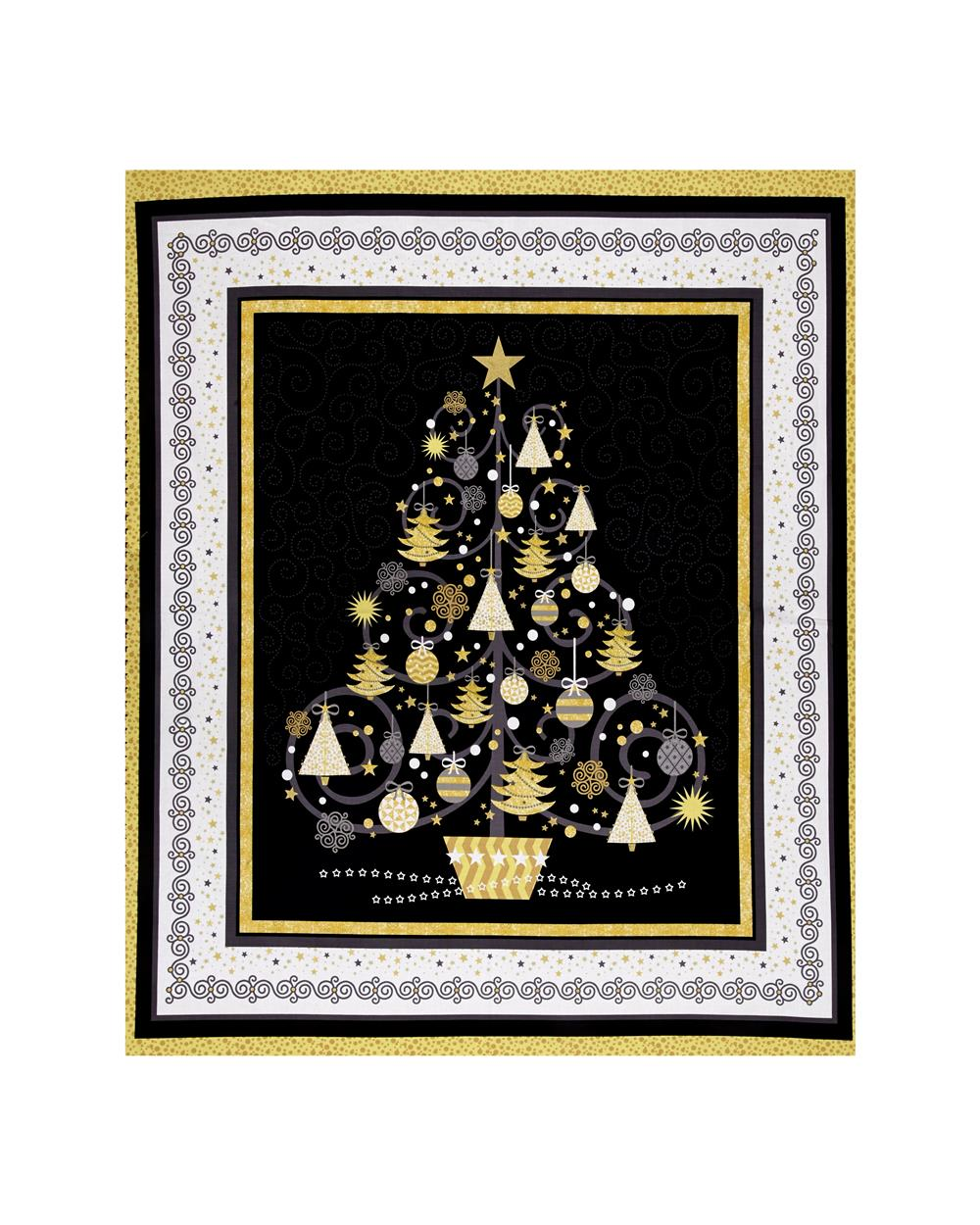 All That Glitters Metallic Christmas Tree 36 In. Panel Black Fabric