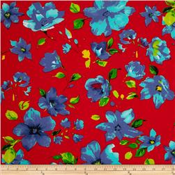 Spandex ITY Jersey Knit Floral Red/Blue/Yellow