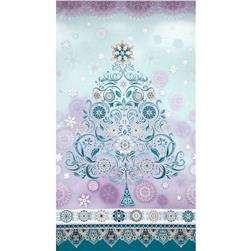 Winter's Grandeur Metallic Large Damask Panel Winter Lavender