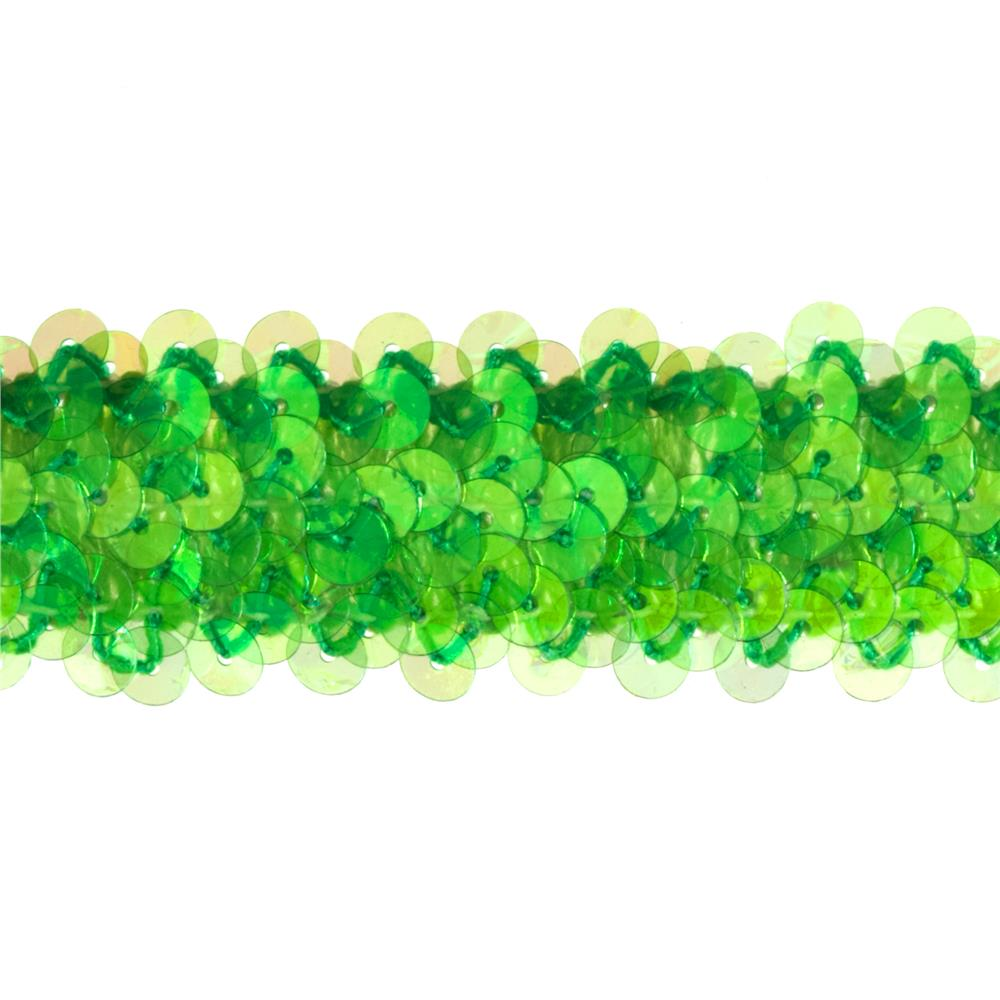 "1 1/4"" Metallic Stretch Sequin Trim Green Aurora Borealis"