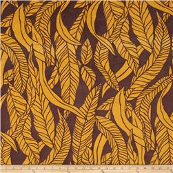 Jersey Knit Abstract Leaves Gold