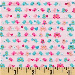 Riley Blake Lovey Dovey Flannel Birds Pink Fabric