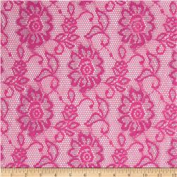 Metallic Scallop Stretch Lace Fuchsia