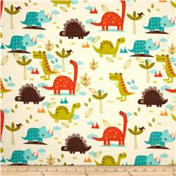 Riley Blake Dinosaur Flannel Main Cream
