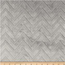 Minky Cuddle Embossed Chevron Silver Fabric