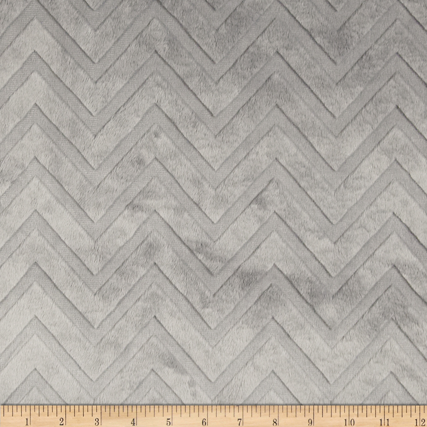 Shannon Minky Cuddle Embossed Chevron Silver Fabric