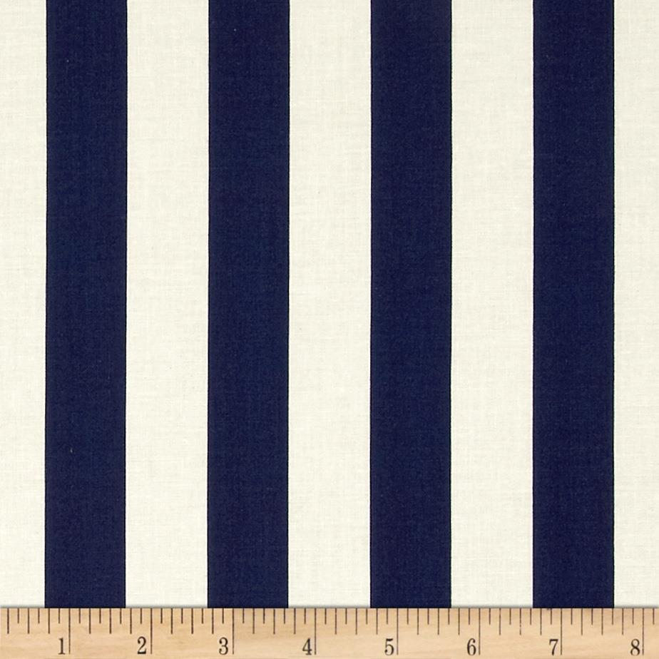 "Riley Blake Le Creme Basics Medium 1"" Stripe Navy/Cream"