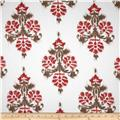 Duralee Manon Damask Twill Red