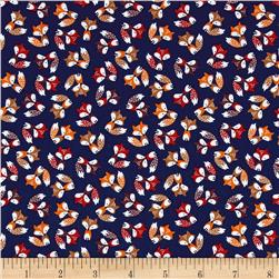 Timeless Treasures Mini's Foxes Navy