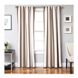 Sunbrella 96'' Rod Pocket Stripe Outdoor Panel Natural/Cocoa
