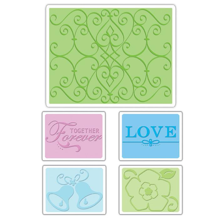 Sizzix Textured Impressions Embossing Folders 5 Pack-Wedding Set #2