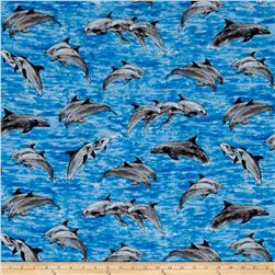 Make A Splash Swimming Dolphins Blue