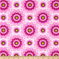Flowerette Cotton Poly Broadcloth Fuchsia