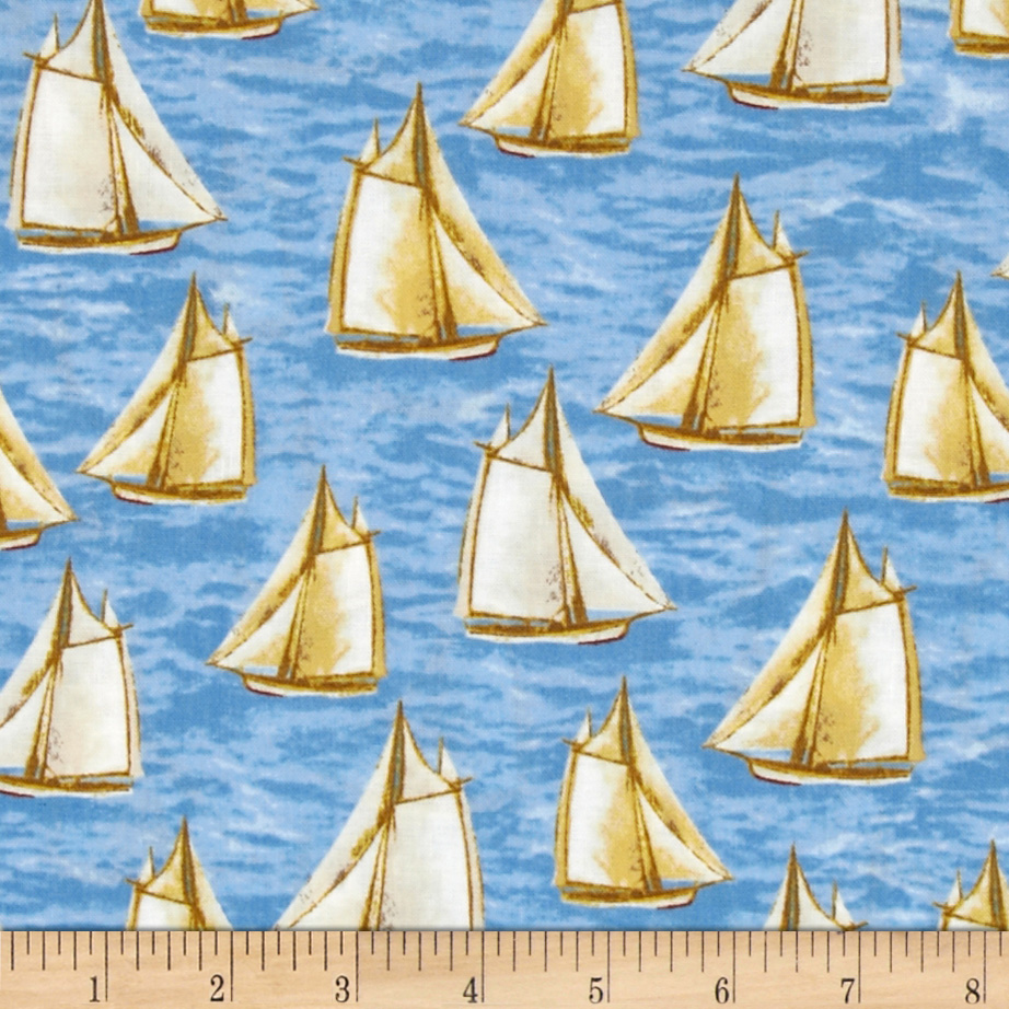 Harbor Point Small Sail Boats Blue Fabric