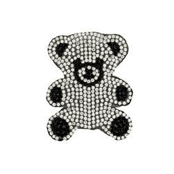 "2 3/4"" x 2"" Iron On Rhinestone Teddy Bear Applique"