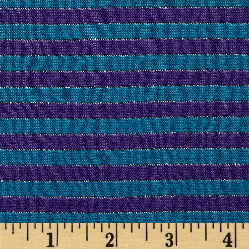 Designer Metallic Jersey Knit Small Stripes Teal/Purple
