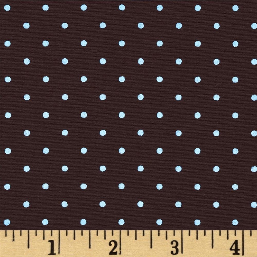 Stretch Poplin Dots Brown/Light Blue