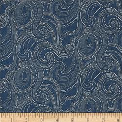 Imperial Dotted Scroll Denim Blue Fabric
