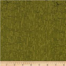 Bountiful Harvest Distressed Wood Dark Green Fabric