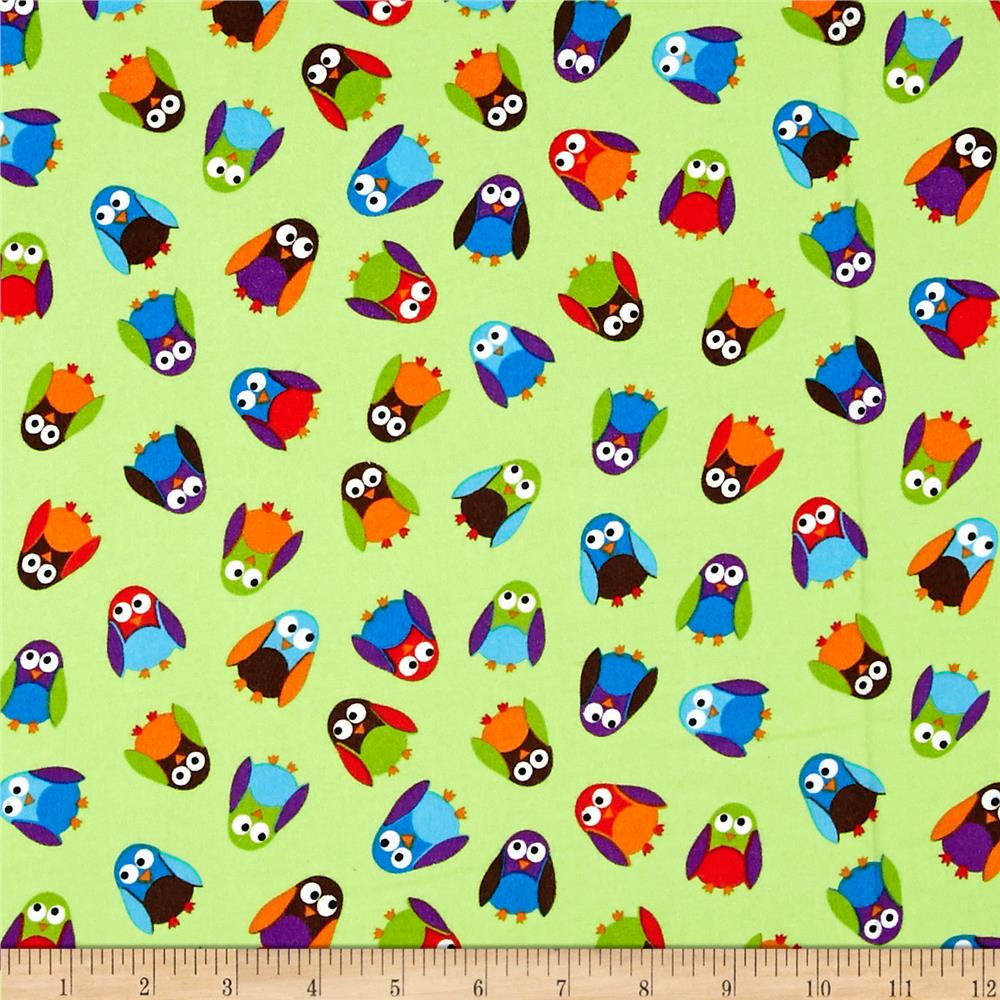What a Hoot Flannel Small Owls Green