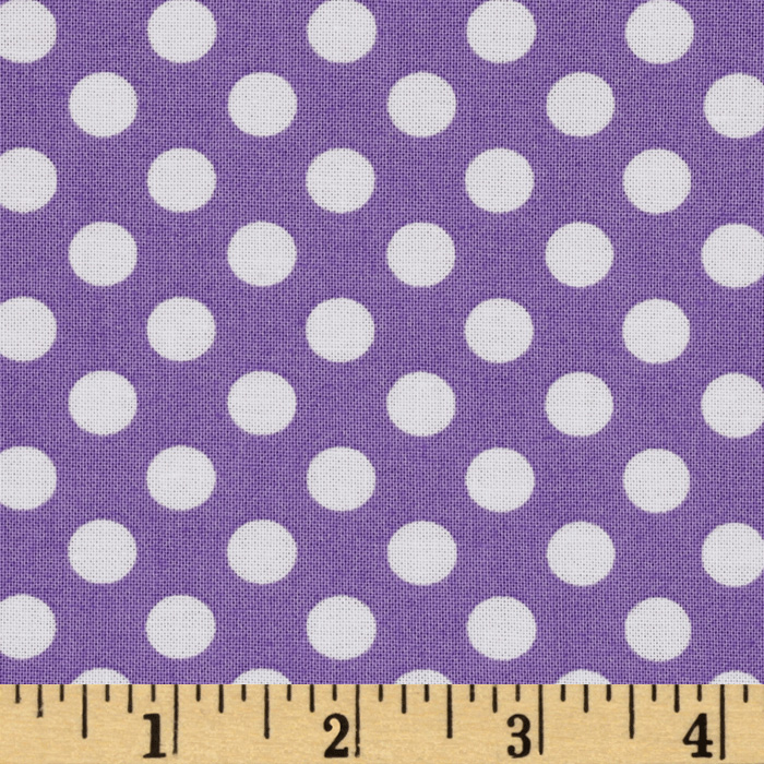 Kaufman Spot On Medium Dot Violet Fabric
